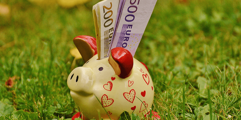 A piggy bank with cash sticking out from the to; Reasons to stay at a hostel