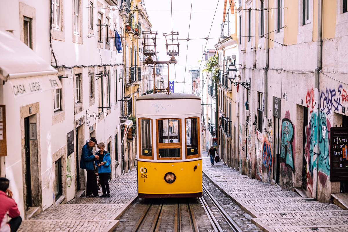 A view of a tram travelling through Portugal's capital, Lisbon.