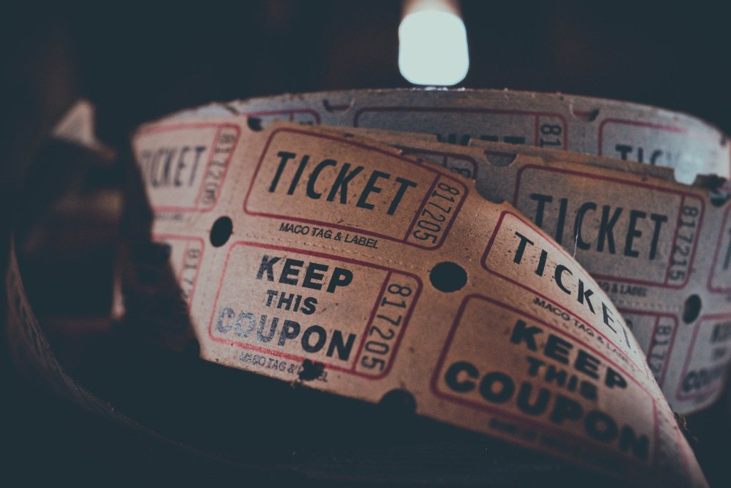 A close up shot of a roll of cinema tickets