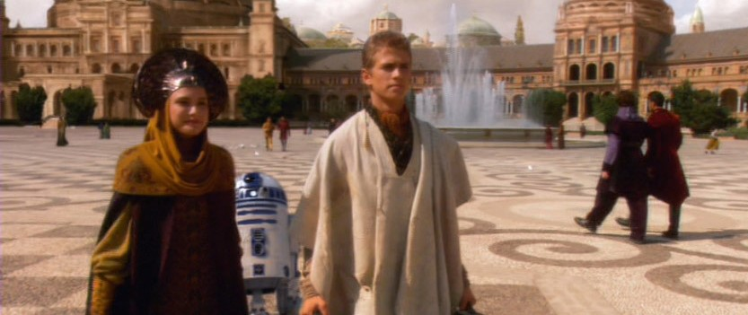 A shot of Padme and Anakin with the building and fountain in the backdrop